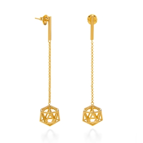 Stylesphere 18k Yellow Gold Plated Brass Long Earrings-