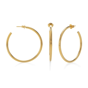 Bi-Μetal Chic 18K Yellow Gold Plated Brass Large Hoops-