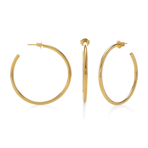 Bi-Μetal Chic 18K Yellow Gold Plated Brass Large Hoops-