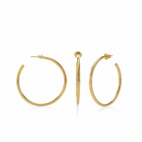 Bi-Μetal Chic 18K Yellow Gold Plated Brass Medium Hoops-