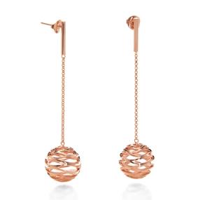 Stylesphere 18k Rose Gold Plated Brass Μακριά Σκουλαρίκια-