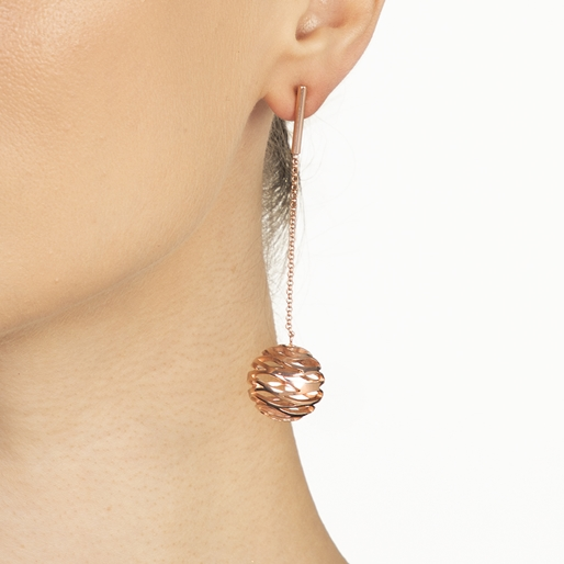 Stylesphere 18k Rose Gold Plated Brass Long Earrings-