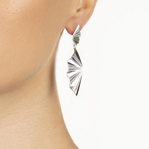 Pleats Bliss Silver Plated Brass Long Earrings-