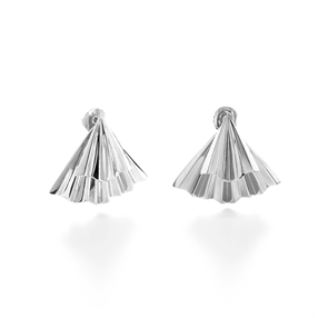 Pleats Bliss Silver Plated Brass Short Earrings-