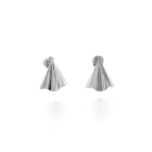 Pleats Bliss Silver Plated Brass Κοντά Σκουλαρίκια-
