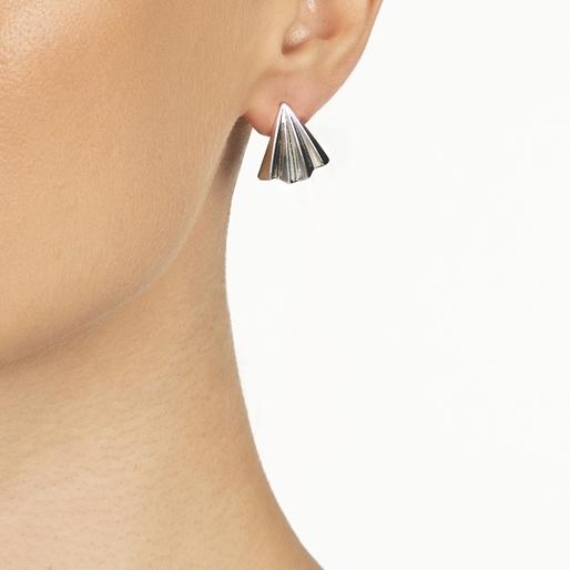 Pleats Bliss Silver Plated Brass Short Earrings-