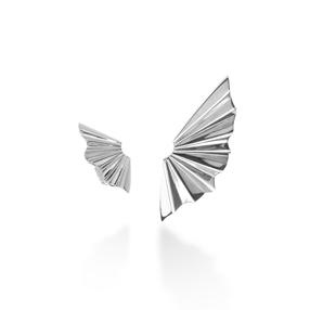 Pleats Bliss Silver Plated Brass Καρφωτά Σκουλαρίκια-