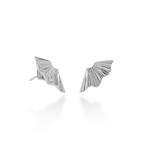 Pleats Bliss Silver Plated Brass Stud Earrings-