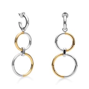 Bi-Metal Chic 18K Yellow Gold & Silver Plated Brass Long Earrings-
