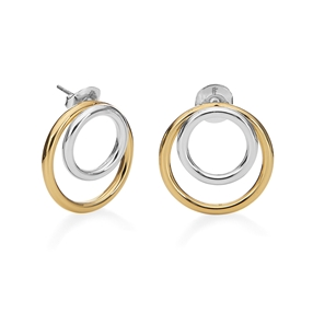 Bi-Metal Chic 18K Yellow Gold & Silver Plated Brass Double Earrings-