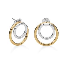 Bi-Metal Chic 18K Yellow Gold & Silver Plated Brass Double Earrings-