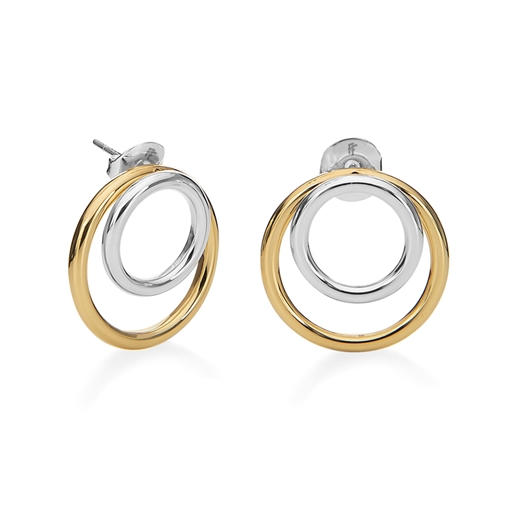 Bi-Metal Chic 18K Yellow Gold & Silver Plated Brass Διπλά Σκουλαρίκια-