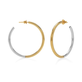 Bi-Metal Chic 18K Yellow Gold & Silver Plated Brass Mεγάλοι Κρίκοι-