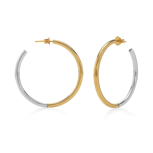Bi-Metal Chic 18K Yellow Gold & Silver Plated Brass Large Hoops-