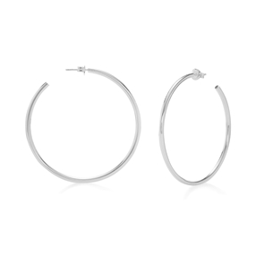 Bi-Metal Chic Silver Plated Brass Large Hoops-