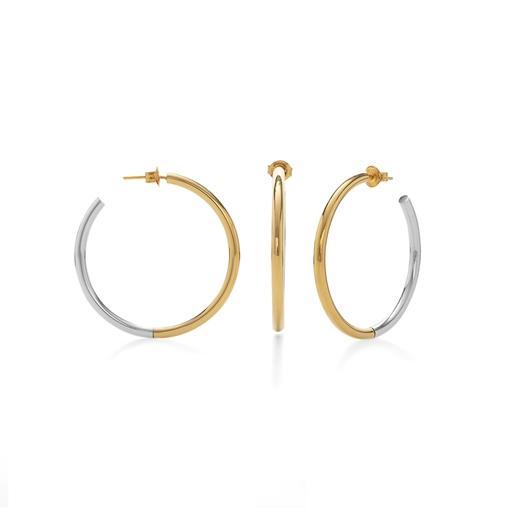 Bi-Metal Chic 18K Yellow Gold & Silver Plated Brass Mεσαίοι Κρίκοι-