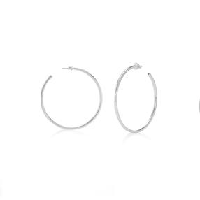 Bi-Metal Chic Silver Plated Brass Medium Hoops-