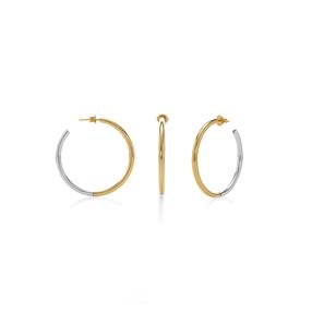 Bi-Metal Chic 18K Yellow Gold & Silver Plated Brass Mικροί Κρίκοι-