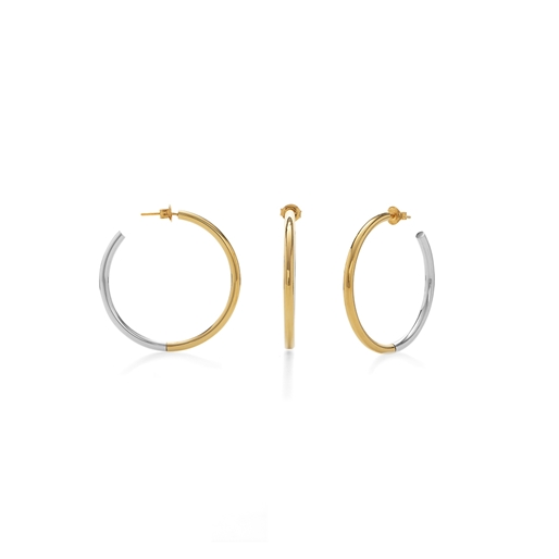 Bi-Metal Chic 18K Yellow Gold & Silver Plated Brass Small Hoops-