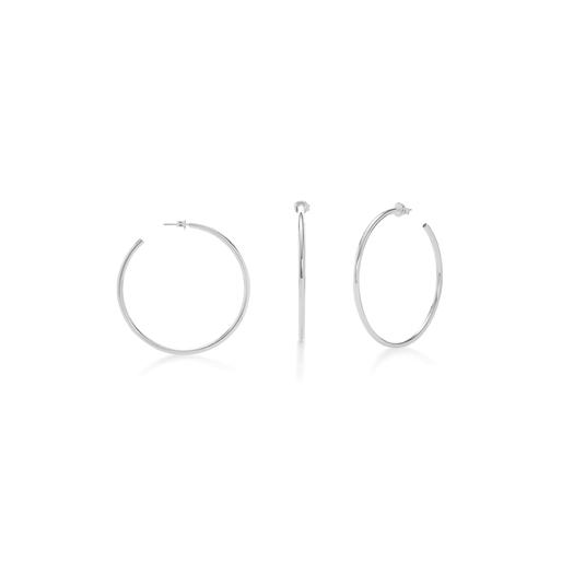Bi-Μetal Chic Silver Plated Brass Small Hoops-