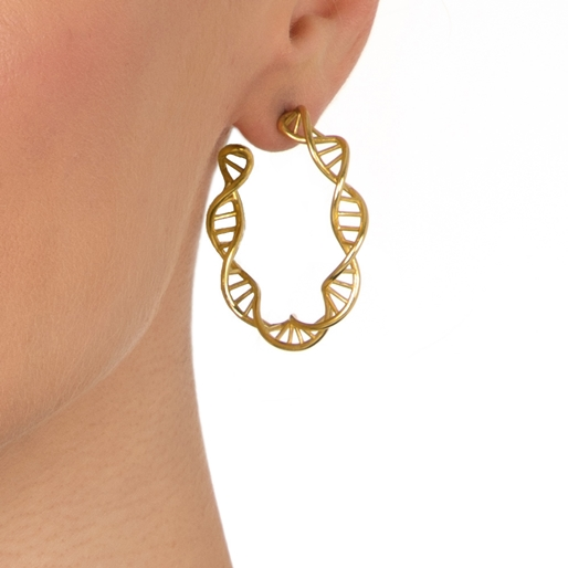 Style DNA Silver 925 18k Yellow Gold Plated Μεσαίοι Κρίκοι Σκουλαρίκια-