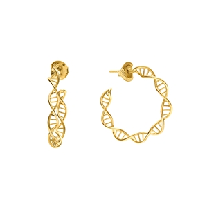 Style DNA Silver 925 18k Yellow Gold Plated Μικροί Κρίκοι Σκουλαρίκια-