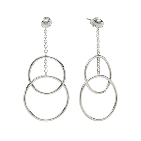 Link Up Silver 925 Long Earrings-
