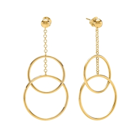 Link Up Silver 925 18k Yellow Gold Plated Μακριά Σκουλαρίκια-