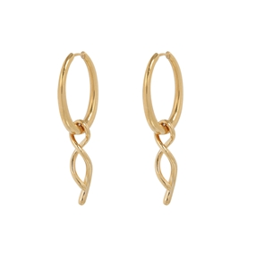Fluidity Color brass hoops with 18K yellow gold plating and spiral eternity motif-