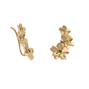 The Dreamy Flower silver 925° short pierced earrings with 18K yellow gold plating and flowers motif-