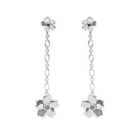 The Dreamy Flower silver 925° long pierced earrings with flowers motif-