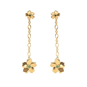 The Dreamy Flower ασημένια 925° μακριά τρυπητά σκουλαρίκια σε 18K κίτρινη επιχρύσωση με μοτίφ λουλουδιών-