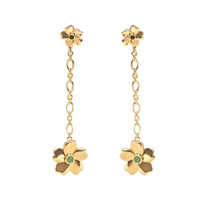 The Dreamy Flower silver 925° long pierced earrings with 18K yellow gold plating and flowers motif-