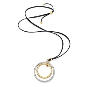 Metal Chic Two Tone Long Leather Cord Necklace-