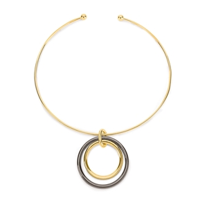 Metal Chic Yellow Gold Plated Choker Necklace-