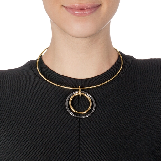 Metal Chic Yellow Gold Plated Collar Κολιέ-