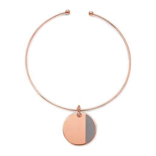 Style Candies Rose Gold Plated Grey Enamel Collar-