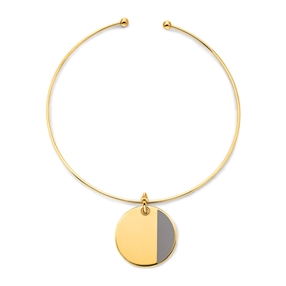 Style Candies Yellow Gold Plated Grey Enamel Choker Necklace-