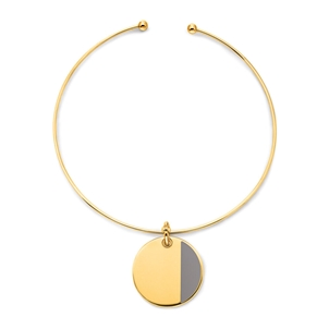 Style Candies Yellow Gold Plated Grey Enamel Choker Necklace -