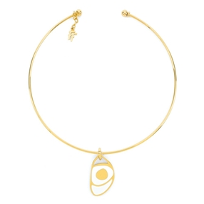 FF Talisman Yellow Gold Plated With Enamel Collar Necklace-