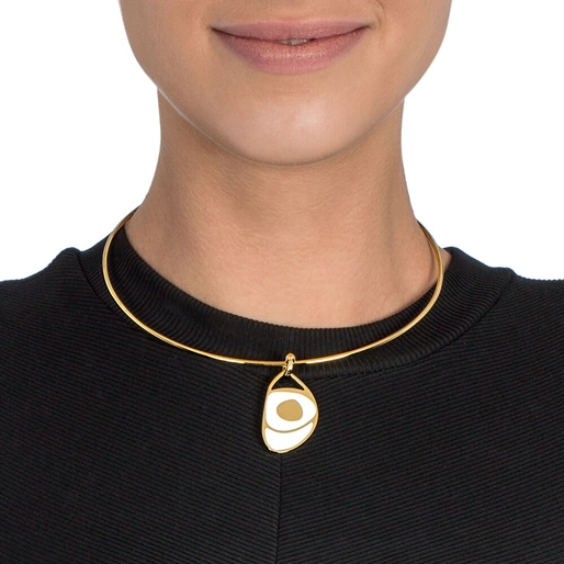 FF Talisman Yellow Gold Plated With Enamel Collar Necklace -