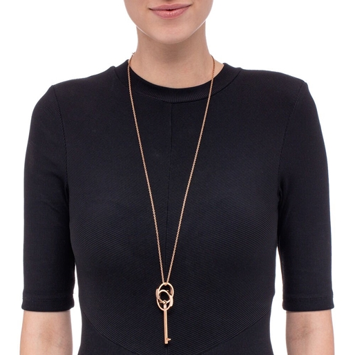 On Key Rose Gold Plated Long Necklace -