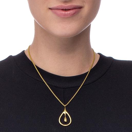 Style Drops Yellow Gold Plated Μακρύ Κολιέ-