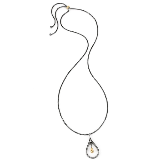 Style Drops Gun Plated Long Necklace-