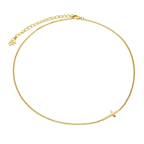 Carma 18k Yellow Gold Plated Brass Κοντό Κολιέ-