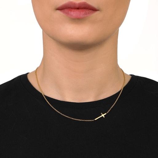 Carma 18k Yellow Gold Plated Brass Κοντό Κολιέ-