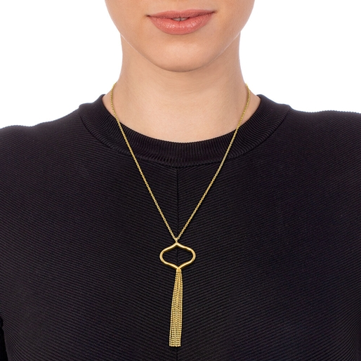Chic Princess Yellow Gold Plated Long Necklace-