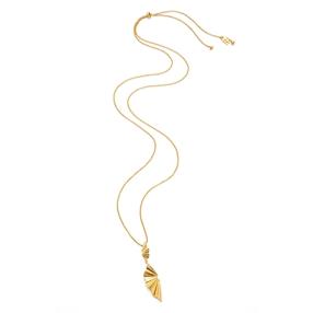 Pleats Bliss 18k Yellow Gold Plated Brass Μακρύ Κολιέ-