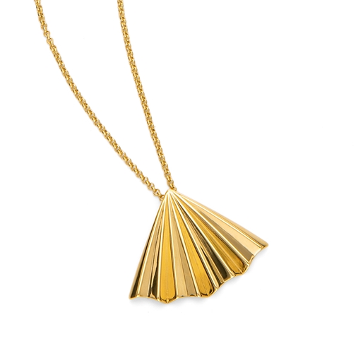 Pleats Bliss 18k Yellow Gold Plated Brass Long Necklace-