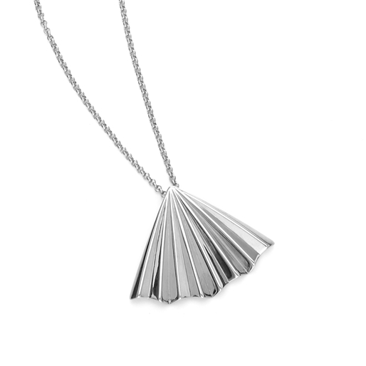 Pleats Bliss Silver Plated Brass Μακρύ Κολιέ-